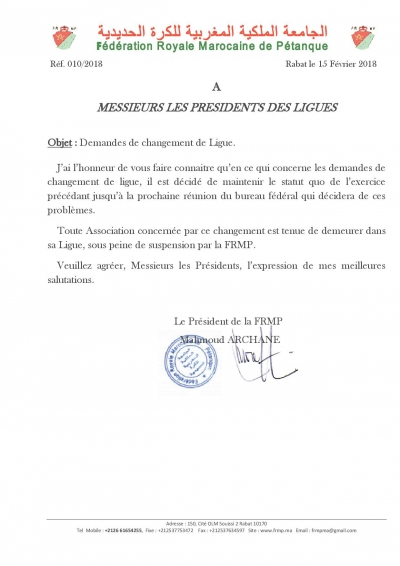 Note FRMP: Changements de ligues 2018