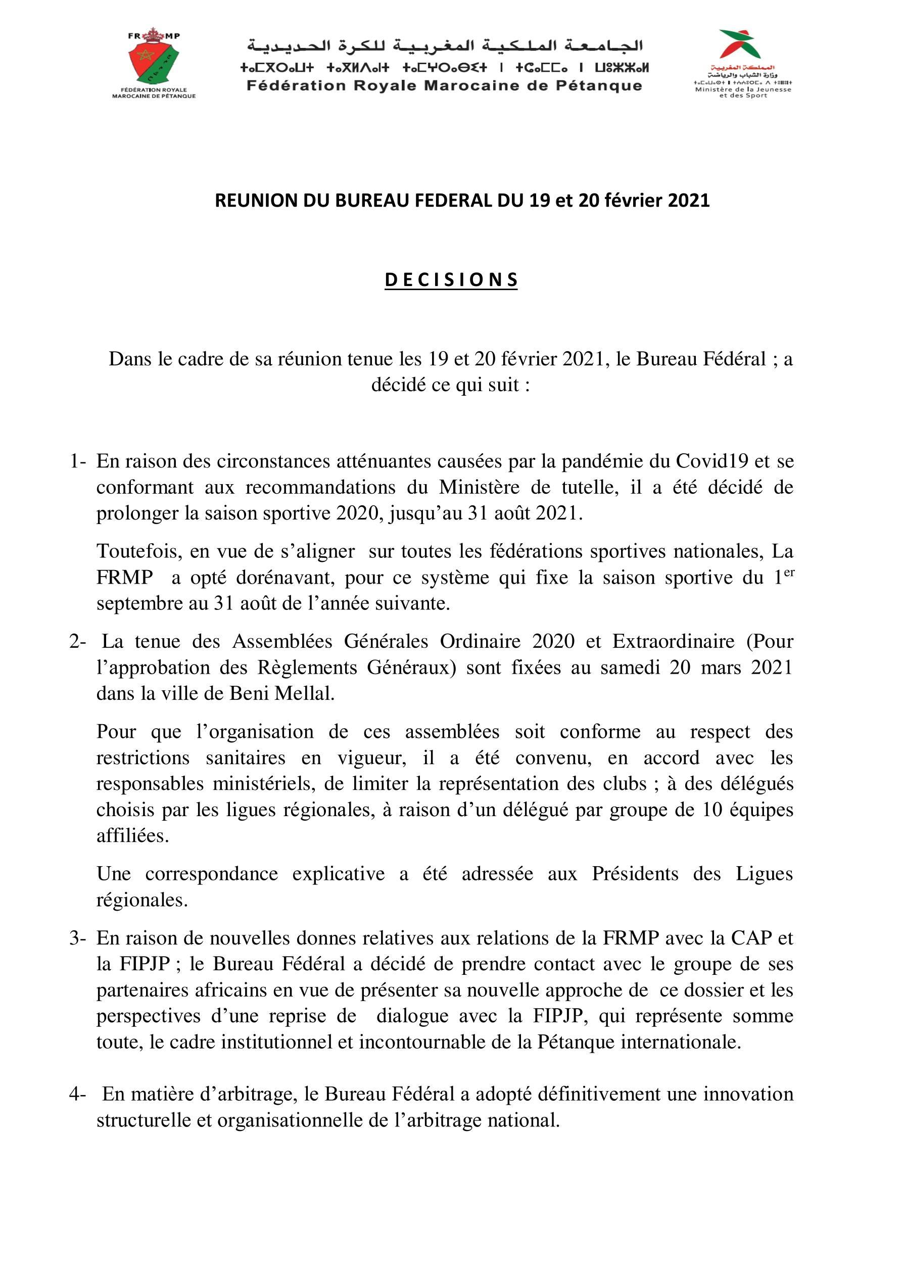 ILes décisions de la réunion du bureau fédéral du 19 et 20/02/2021