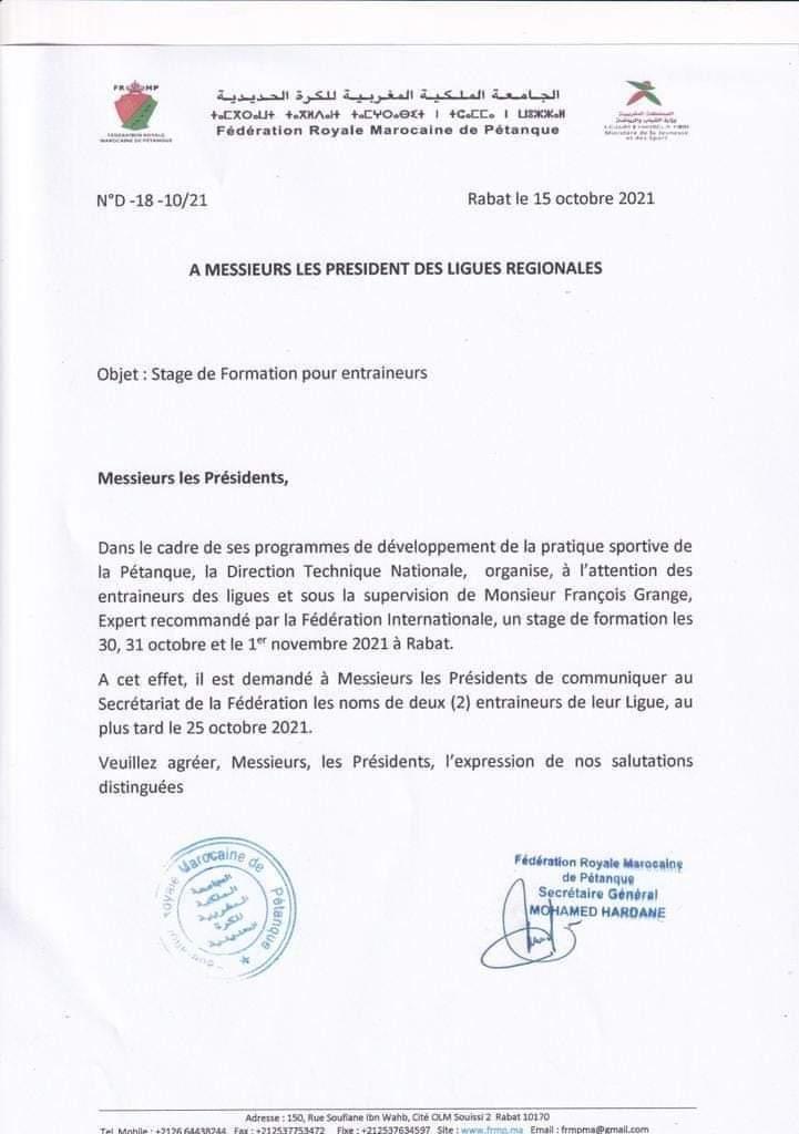 IFRMP: Stage des entraineurs de pétanque du 30/10 au 01/11/2021